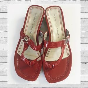Marc Fisher size 7 patent red thong sandal wedge